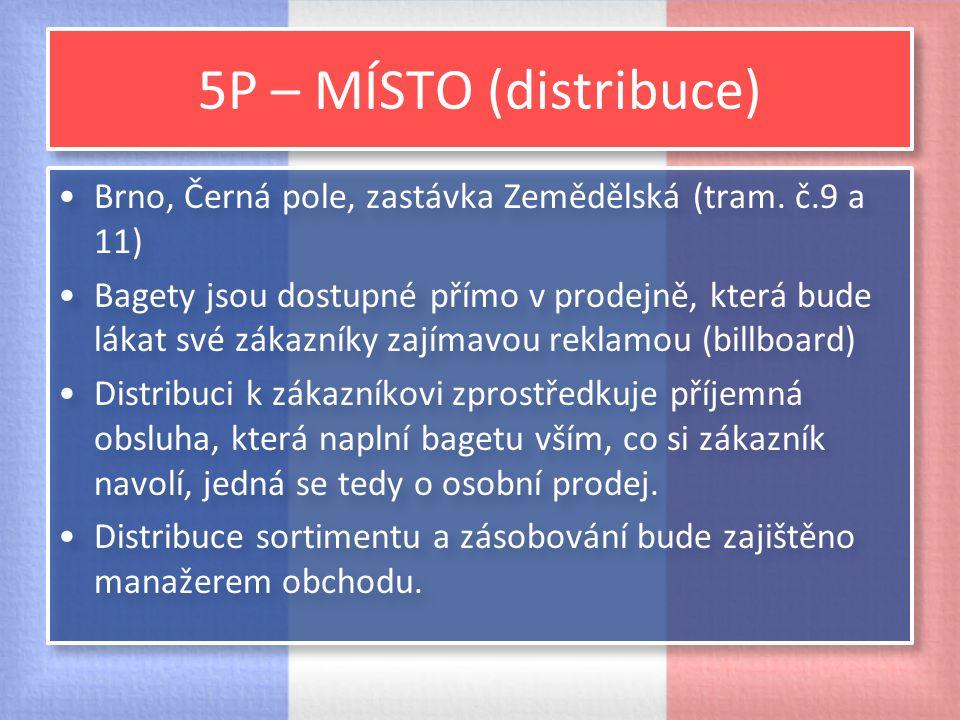 5P – MÍSTO (distribuce) Brno, Černá pole, zastávka Zemědělská (tram. č.9 a 11) Bagety jsou dostupné přímo v prodejně, která bude lákat své zákazníky z