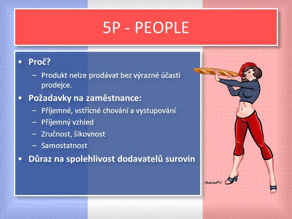 5P - PEOPLE Proč? –Produkt nelze prodávat bez výrazné účasti prodejce. Požadavky na zaměstnance: –Příjemné, vstřícné chování a vystupování –Příjemný v