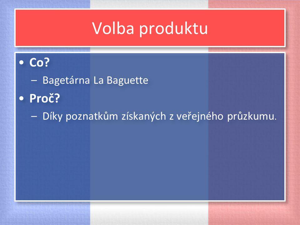 Volba produktu Co? –Bagetárna La Baguette Proč? –Díky poznatkům získaných z veřejného průzkumu. Co? –Bagetárna La Baguette Proč? –Díky poznatkům získa