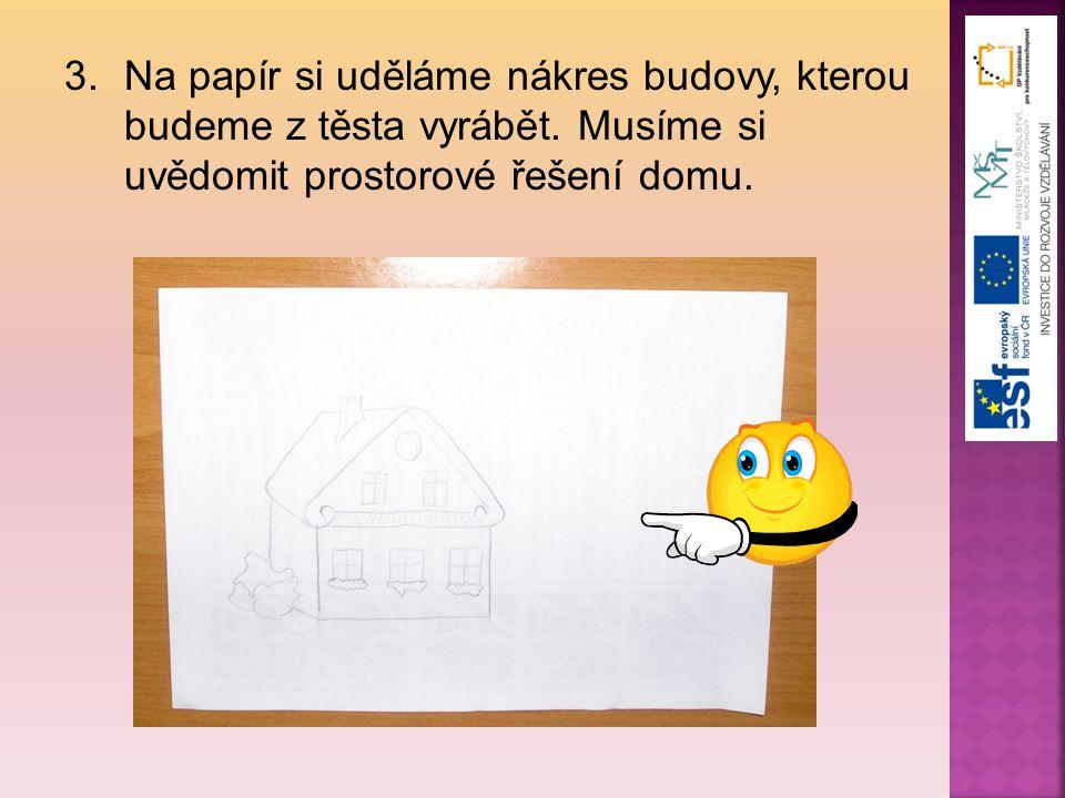 3.Na papír si uděláme nákres budovy, kterou budeme z těsta vyrábět. Musíme si uvědomit prostorové řešení domu.