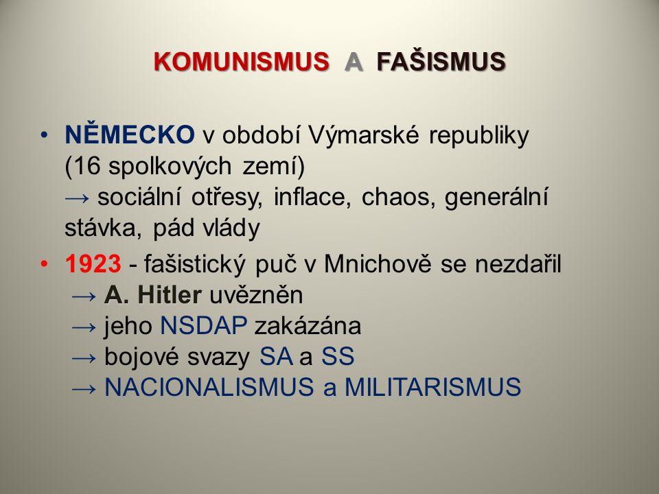 KOMUNISMUS A FAŠISMUS NĚMECKO v období Výmarské republiky (16 spolkových zemí) → sociální otřesy, inflace, chaos, generální stávka, pád vlády A. Hitle