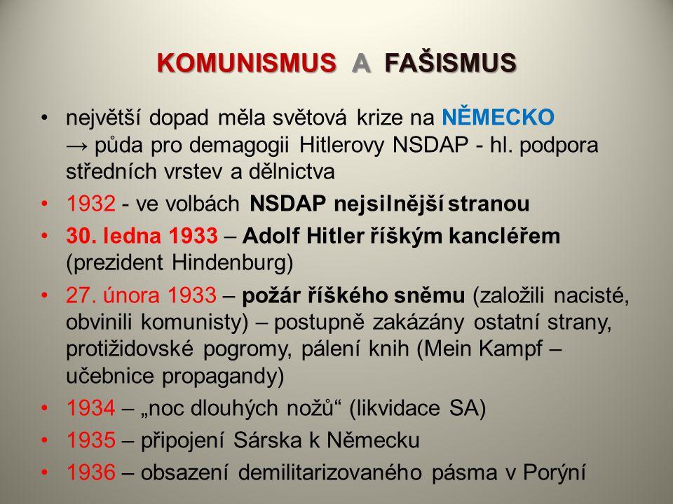 KOMUNISMUS A FAŠISMUS největší dopad měla světová krize na NĚMECKO → půda pro demagogii Hitlerovy NSDAP - hl. podpora středních vrstev a dělnictva 193