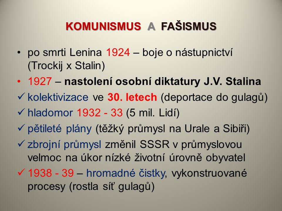 KOMUNISMUS A FAŠISMUS po smrti Lenina 1924 – boje o nástupnictví (Trockij x Stalin) 1927 – nastolení osobní diktatury J.V. Stalina kolektivizace ve 30