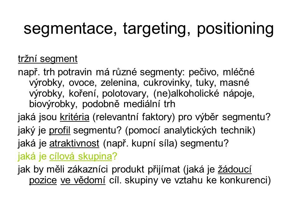 segmentace, targeting, positioning tržní segment např. trh potravin má různé segmenty: pečivo, mléčné výrobky, ovoce, zelenina, cukrovinky, tuky, masn