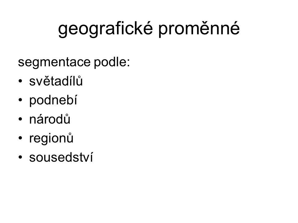 geografické proměnné segmentace podle: světadílů podnebí národů regionů sousedství