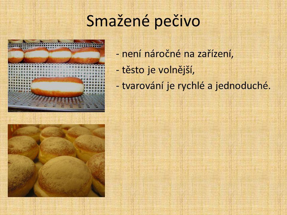 Smažené pečivo - není náročné na zařízení, - těsto je volnější, - tvarování je rychlé a jednoduché.