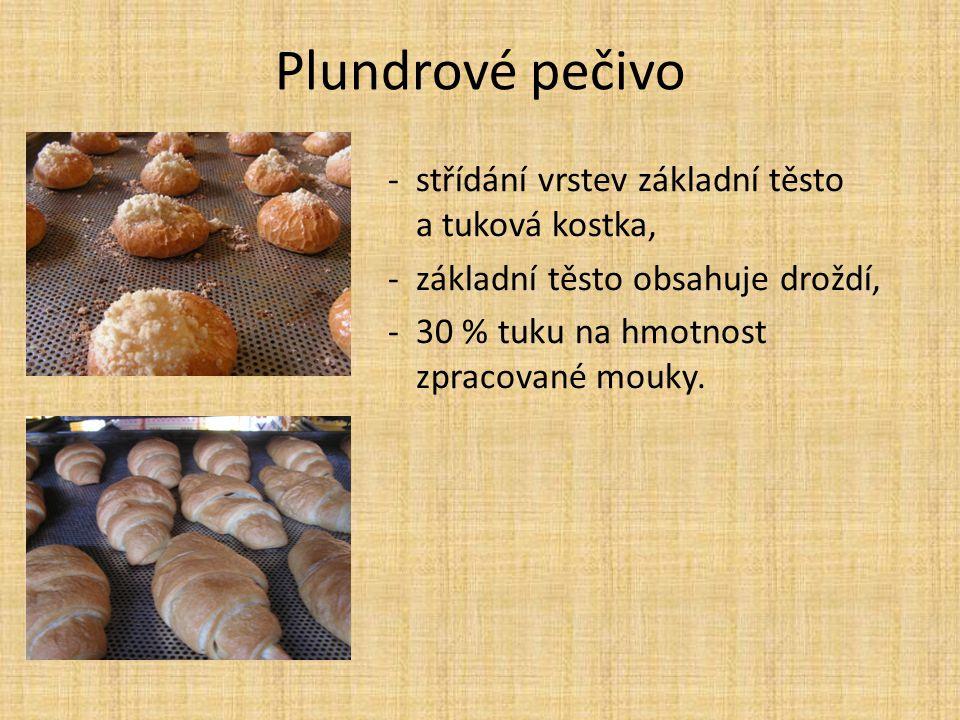 Plundrové pečivo -střídání vrstev základní těsto a tuková kostka, -základní těsto obsahuje droždí, -30 % tuku na hmotnost zpracované mouky.