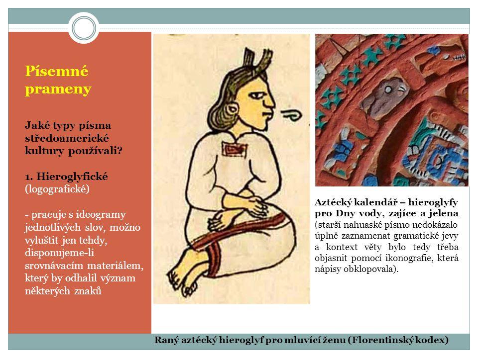 Písemné prameny Jaké typy písma středoamerické kultury používali? 1. Hieroglyfické (logografické) - pracuje s ideogramy jednotlivých slov, možno vyluš
