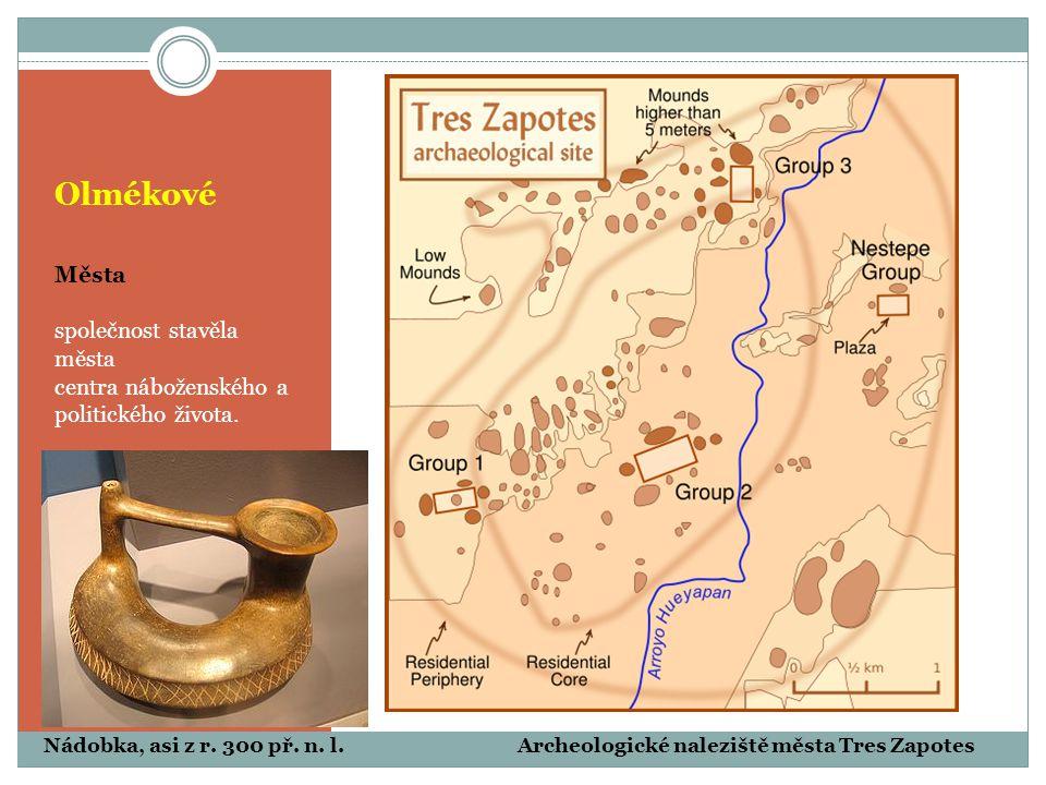 Olmékové Města společnost stavěla města centra náboženského a politického života. Archeologické naleziště města Tres ZapotesNádobka, asi z r. 300 př.