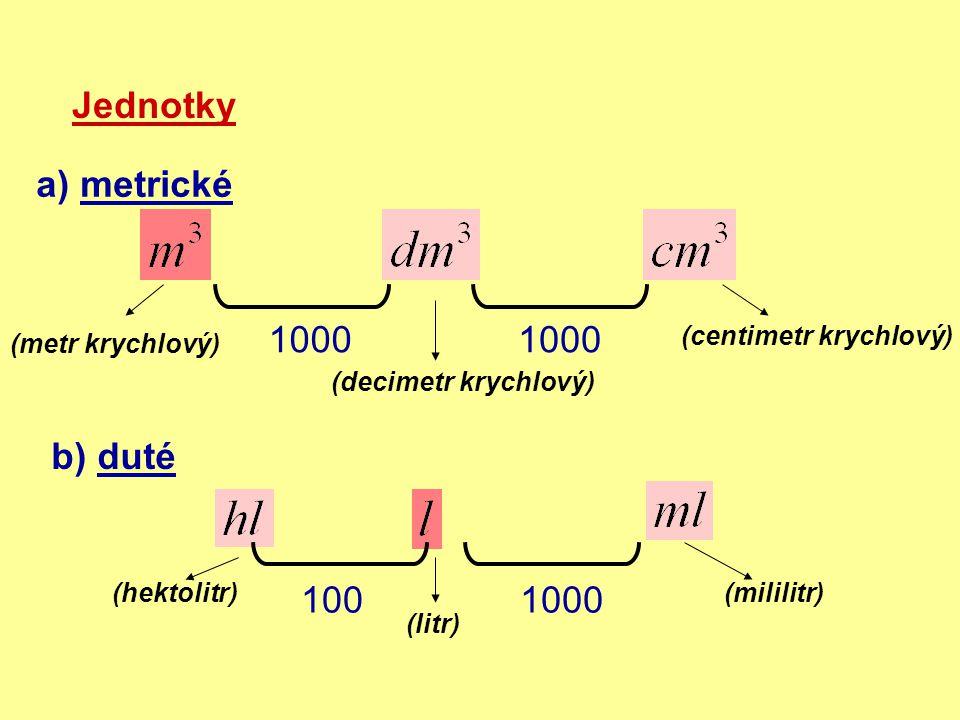Jednotky a) metrické 1000 b) duté (litr) (metr krychlový) (decimetr krychlový) (centimetr krychlový) (hektolitr)(mililitr) 1000100