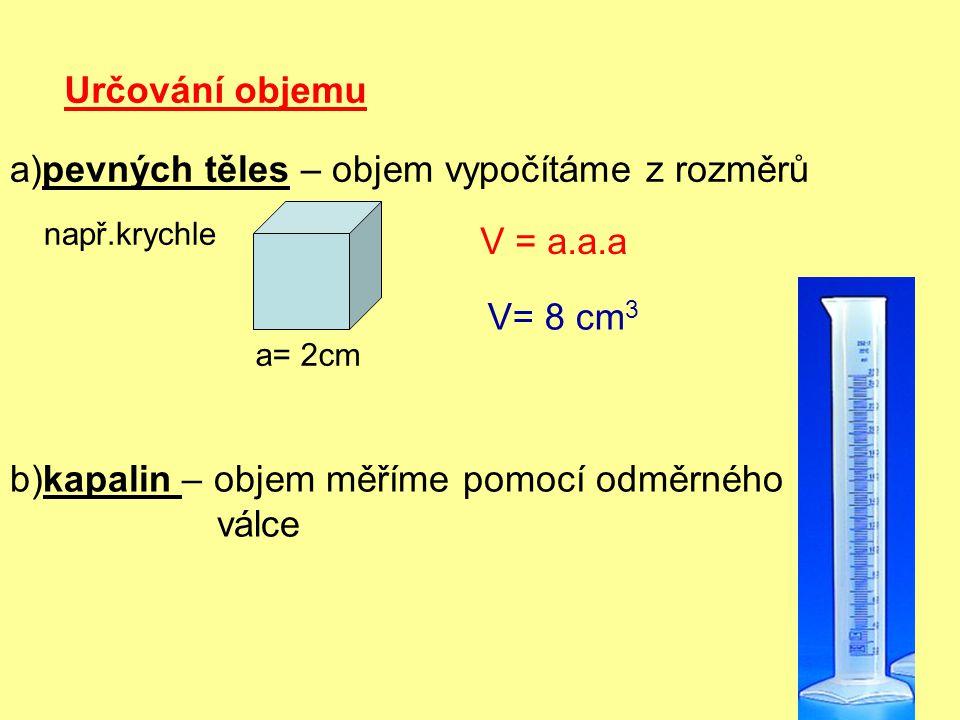 Určování objemu a)pevných těles – objem vypočítáme z rozměrů a= 2cm např.krychle V = a.a.a V= 8 cm 3 b)kapalin – objem měříme pomocí odměrného válce