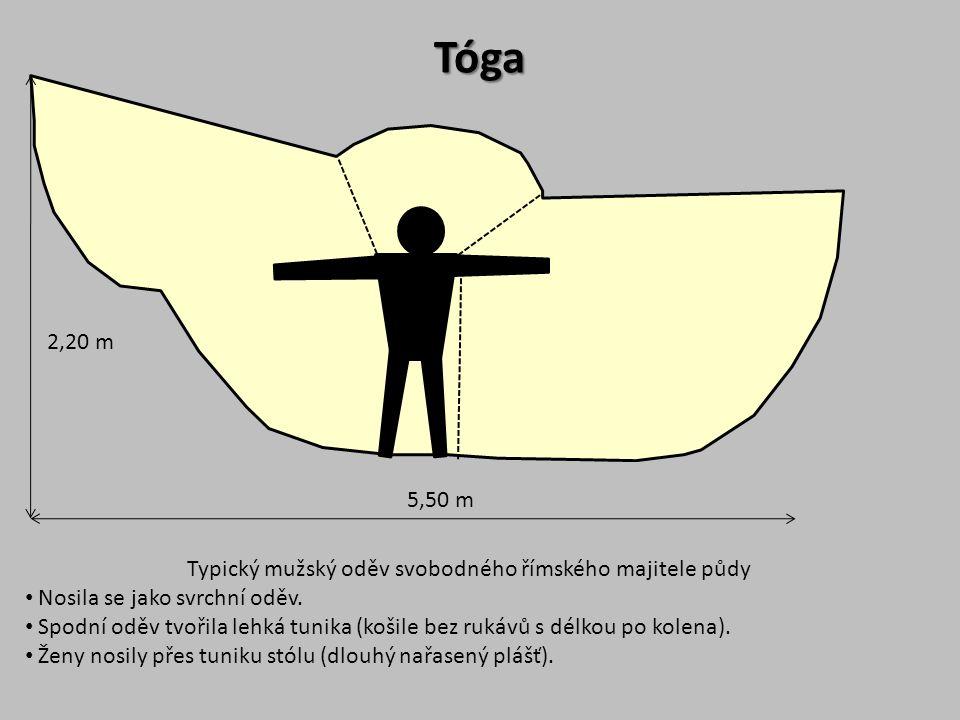 5,50 m 2,20 m Tóga Typický mužský oděv svobodného římského majitele půdy Nosila se jako svrchní oděv. Spodní oděv tvořila lehká tunika (košile bez ruk