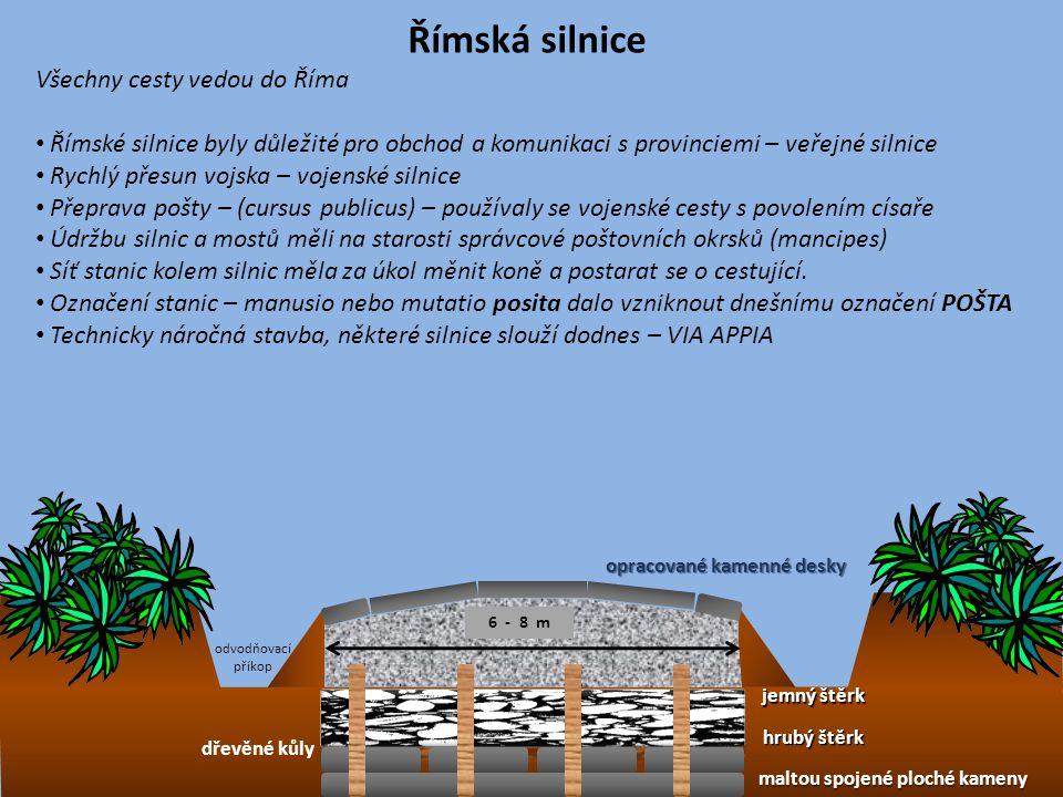 Římská silnice jemný štěrk hrubý štěrk maltou spojené ploché kameny opracované kamenné desky odvodňovací příkop Všechny cesty vedou do Říma Římské sil