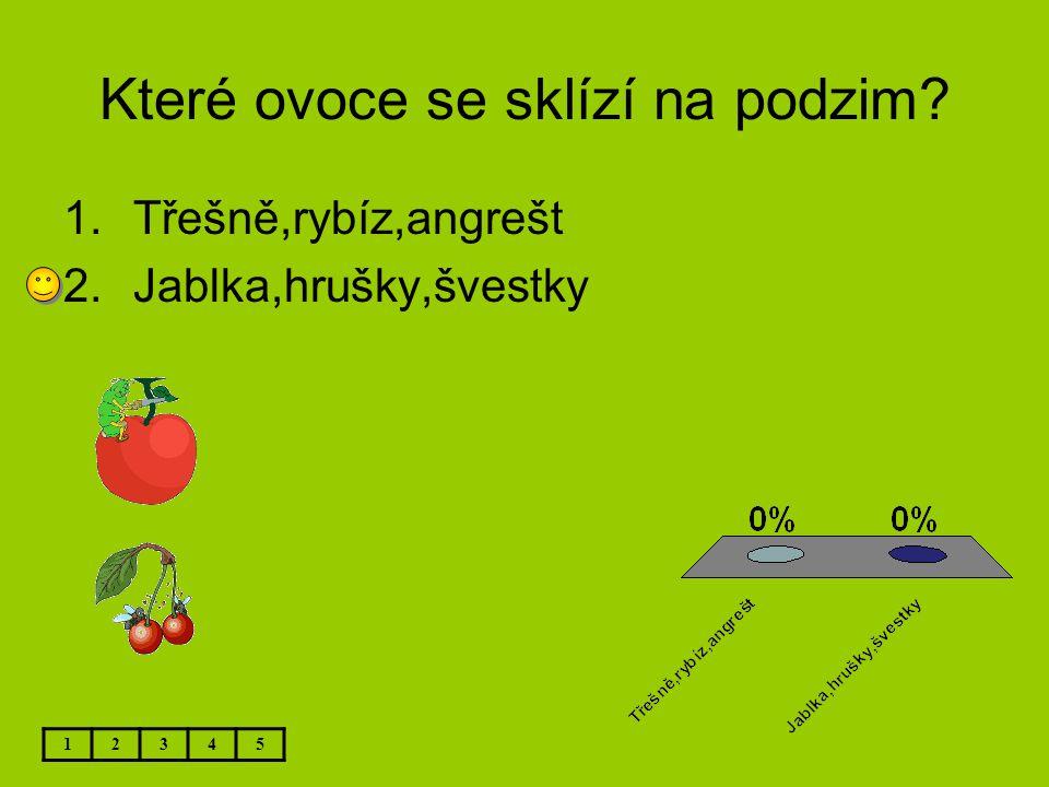 Které ovoce se sklízí na podzim? 12345 1.Třešně,rybíz,angrešt 2.Jablka,hrušky,švestky