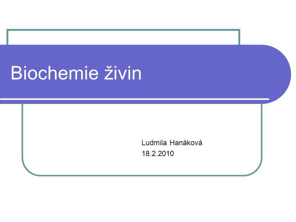 Biochemie živin Ludmila Hanáková 18.2.2010