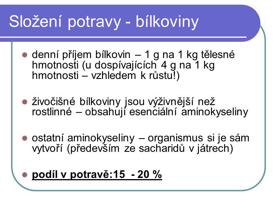 Složení potravy - bílkoviny denní příjem bílkovin – 1 g na 1 kg tělesné hmotnosti (u dospívajících 4 g na 1 kg hmotnosti – vzhledem k růstu!) živočišn