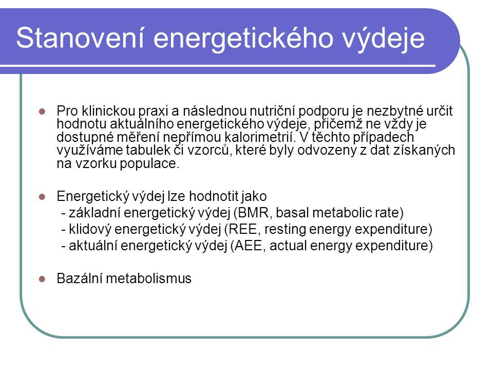 Stanovení energetického výdeje Pro klinickou praxi a následnou nutriční podporu je nezbytné určit hodnotu aktuálního energetického výdeje, přičemž ne