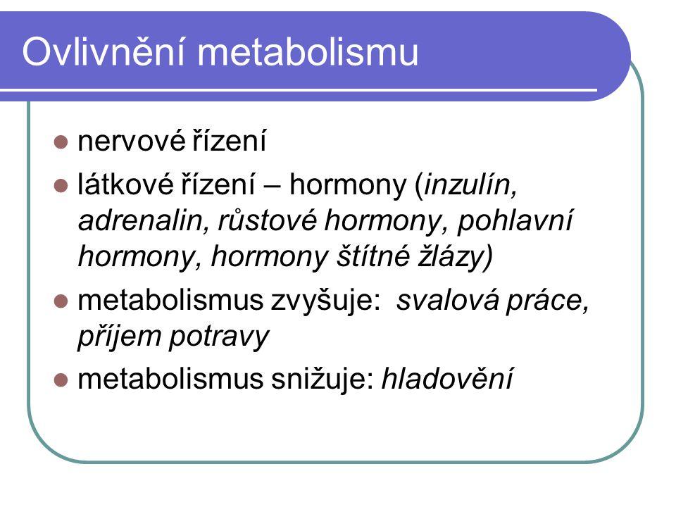 Ovlivnění metabolismu nervové řízení látkové řízení – hormony (inzulín, adrenalin, růstové hormony, pohlavní hormony, hormony štítné žlázy) metabolism