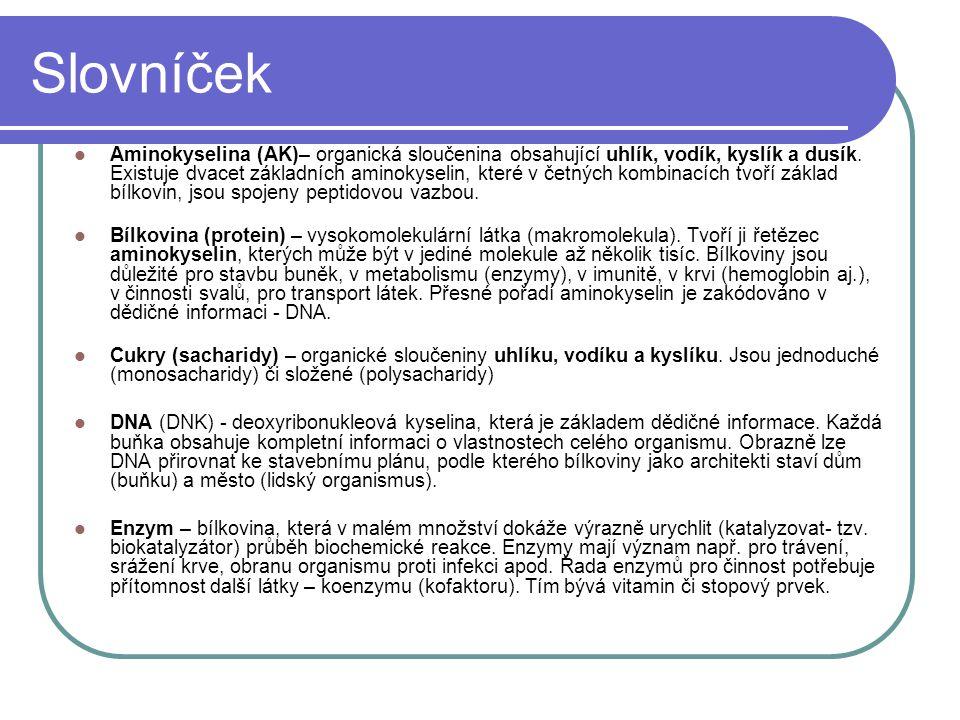 Slovníček Aminokyselina (AK)– organická sloučenina obsahující uhlík, vodík, kyslík a dusík. Existuje dvacet základních aminokyselin, které v četných k