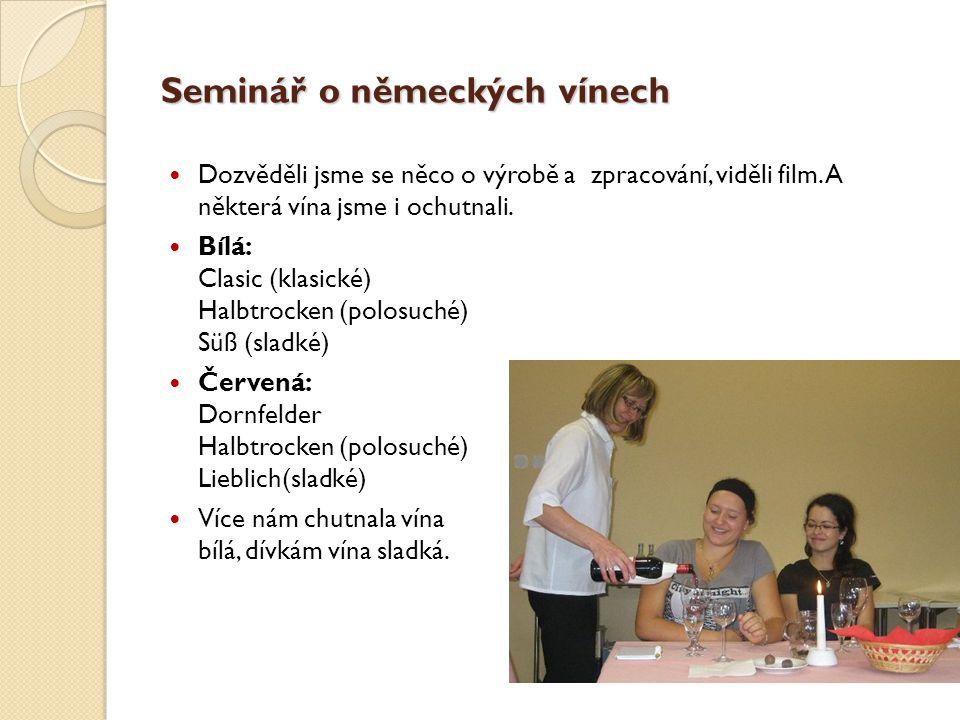 Seminář o německých vínech Dozvěděli jsme se něco o výrobě a zpracování, viděli film. A některá vína jsme i ochutnali. Bílá: Clasic (klasické) Halbtro