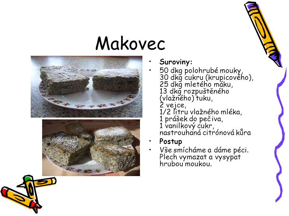 Makovec Suroviny: 50 dkg polohrubé mouky, 30 dkg cukru (krupicového), 25 dkg mletého máku, 13 dkg rozpuštěného (vlažného) tuku, 2 vejce, 1/2 litru vla