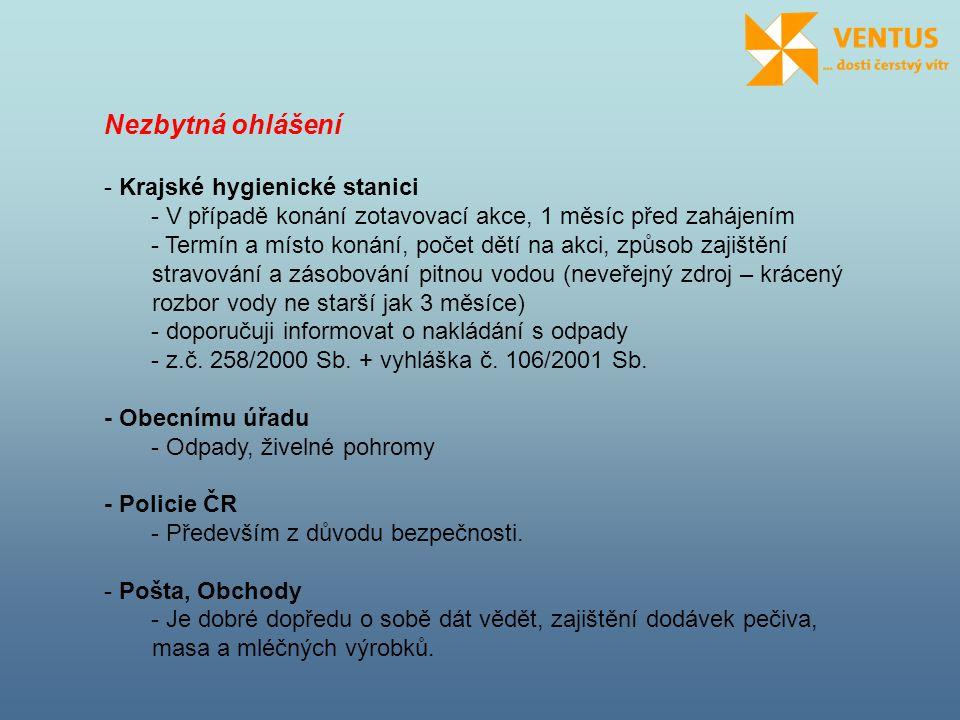 Nezbytná ohlášení - Krajské hygienické stanici - V případě konání zotavovací akce, 1 měsíc před zahájením - Termín a místo konání, počet dětí na akci, způsob zajištění stravování a zásobování pitnou vodou (neveřejný zdroj – krácený rozbor vody ne starší jak 3 měsíce) - doporučuji informovat o nakládání s odpady - z.č.