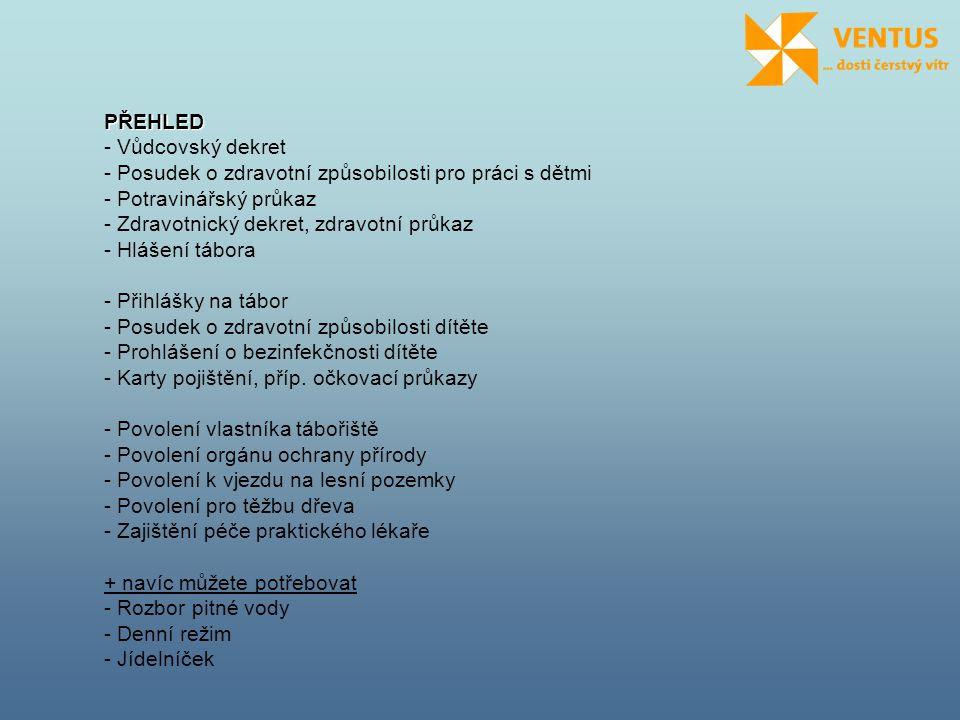 PŘEHLED - Vůdcovský dekret - Posudek o zdravotní způsobilosti pro práci s dětmi - Potravinářský průkaz - Zdravotnický dekret, zdravotní průkaz - Hláše