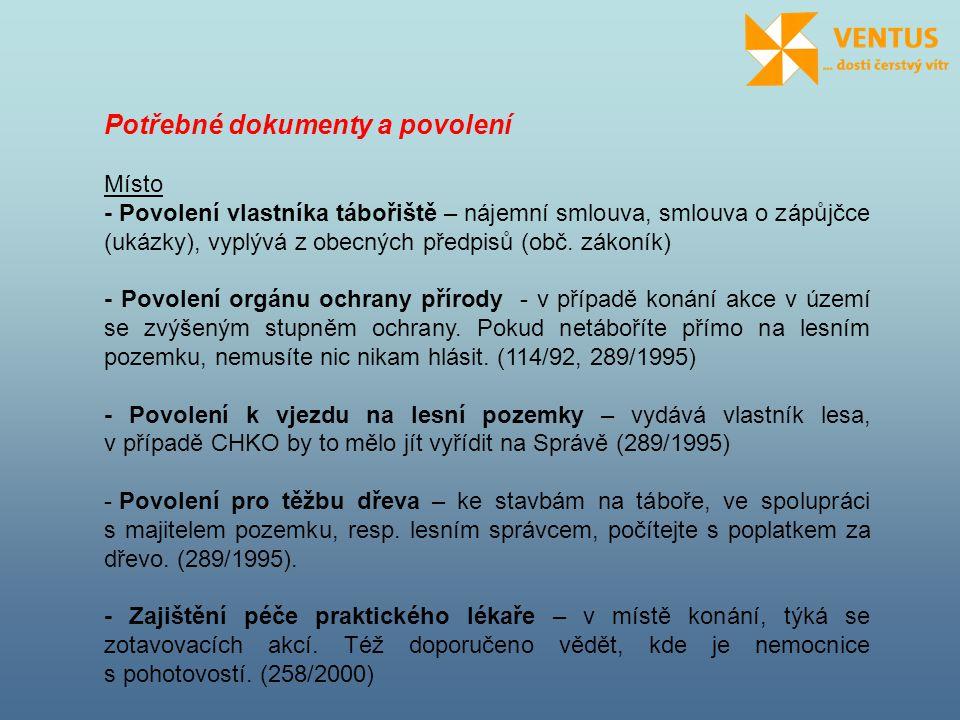 Potřebné dokumenty a povolení Místo - Povolení vlastníka tábořiště – nájemní smlouva, smlouva o zápůjčce (ukázky), vyplývá z obecných předpisů (obč. z