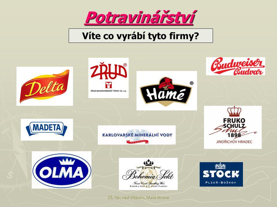 Víte co vyrábí tyto firmy? Potravinářství ZŠ, Týn nad Vltavou, Malá Strana