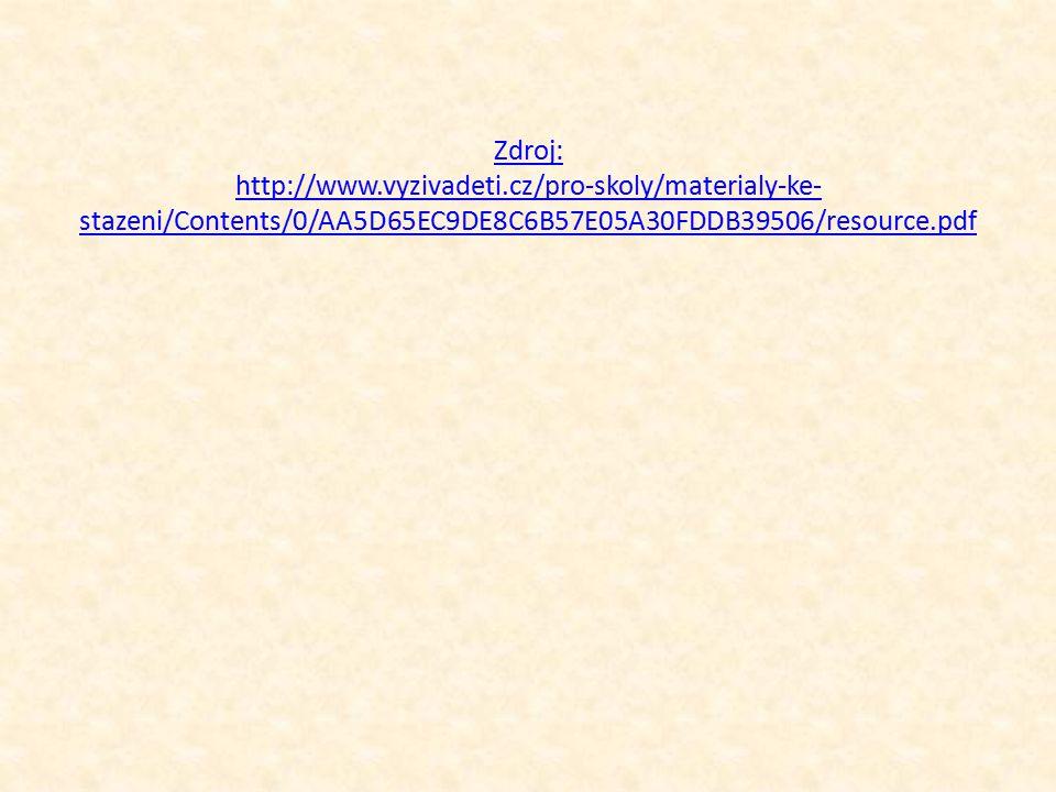 Zdroj: http://www.vyzivadeti.cz/pro-skoly/materialy-ke- stazeni/Contents/0/AA5D65EC9DE8C6B57E05A30FDDB39506/resource.pdf