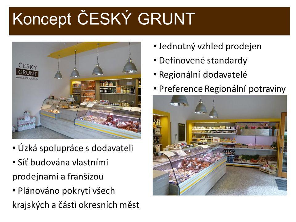 Jednotný vzhled prodejen Definovené standardy Regionální dodavatelé Preference Regionální potraviny Koncept ČESKÝ GRUNT Úzká spolupráce s dodavateli S