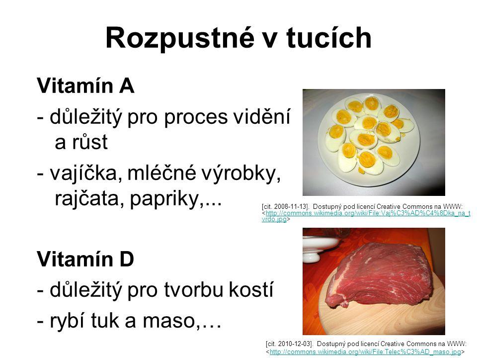 Rozpustné v tucích Vitamín A - důležitý pro proces vidění a růst - vajíčka, mléčné výrobky, rajčata, papriky,...