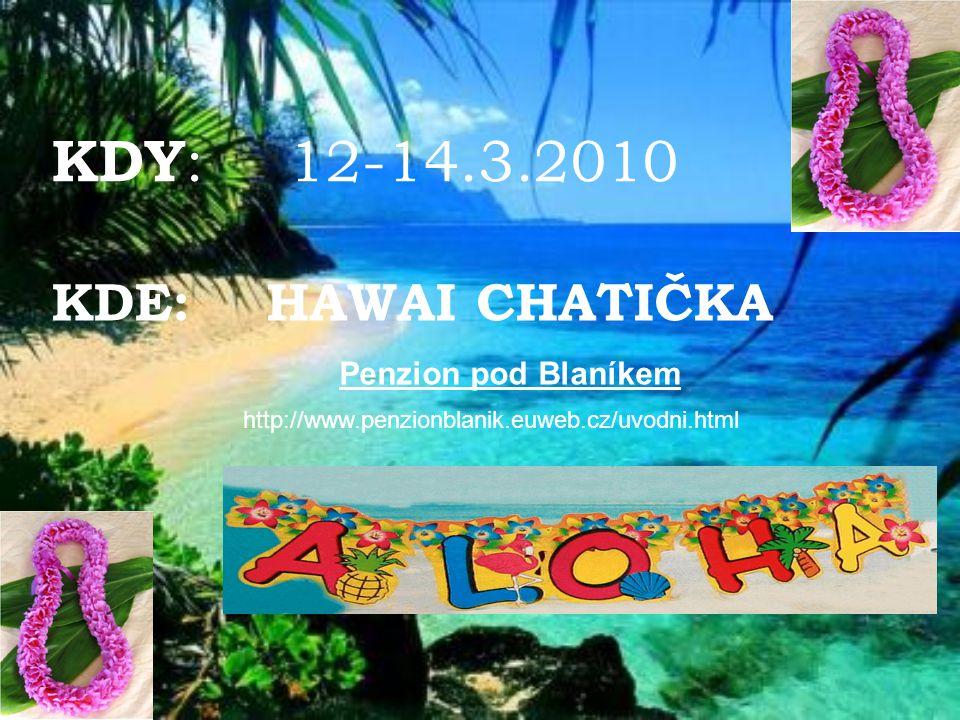 KDY : 12-14.3.2010 KDE: HAWAI CHATIČKA Penzion pod Blaníkem http://www.penzionblanik.euweb.cz/uvodni.html