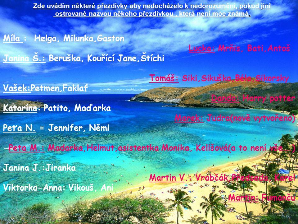 Zde uvádím některé přezdívky aby nedocházelo k nedorozuměni, pokud jiní ostrované nazvou někoho přezdívkou, která není moc známá.