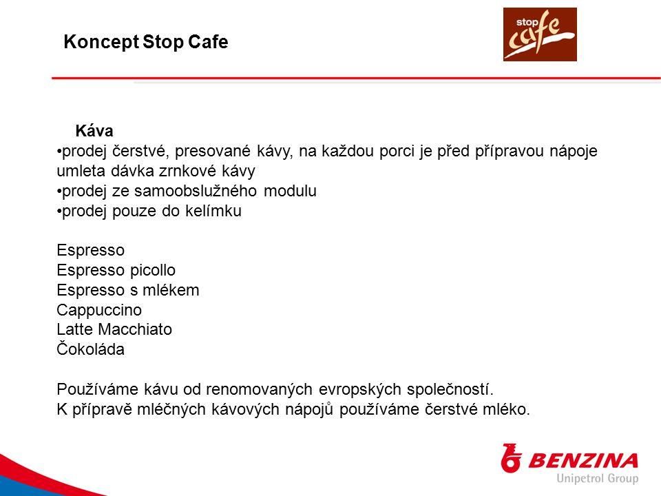 Káva prodej čerstvé, presované kávy, na každou porci je před přípravou nápoje umleta dávka zrnkové kávy prodej ze samoobslužného modulu prodej pouze d