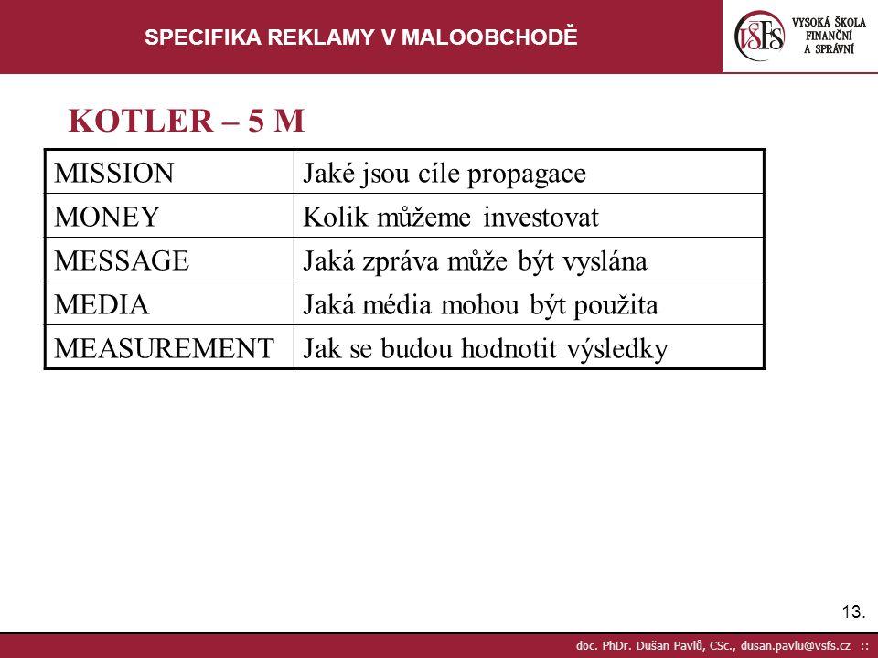 13. doc. PhDr. Dušan Pavlů, CSc., dusan.pavlu@vsfs.cz :: SPECIFIKA REKLAMY V MALOOBCHODĚ MISSIONJaké jsou cíle propagace MONEYKolik můžeme investovat