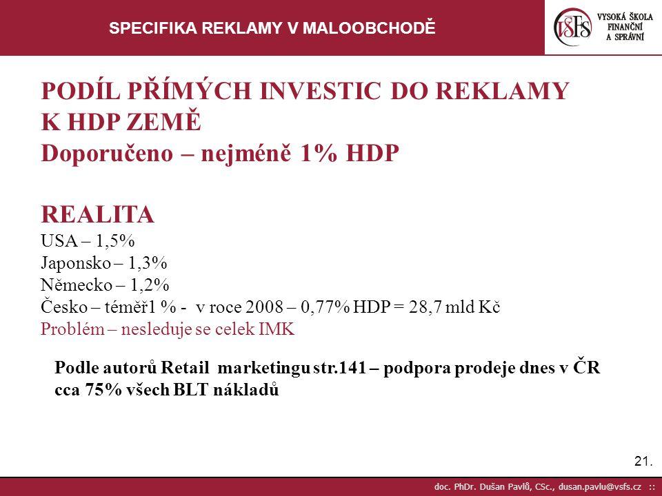 21. doc. PhDr. Dušan Pavlů, CSc., dusan.pavlu@vsfs.cz :: SPECIFIKA REKLAMY V MALOOBCHODĚ PODÍL PŘÍMÝCH INVESTIC DO REKLAMY K HDP ZEMĚ Doporučeno – nej