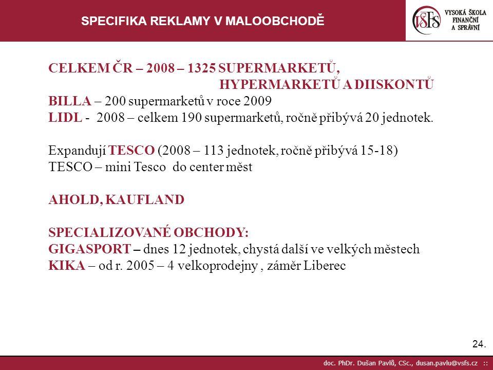 24. doc. PhDr. Dušan Pavlů, CSc., dusan.pavlu@vsfs.cz :: SPECIFIKA REKLAMY V MALOOBCHODĚ CELKEM ČR – 2008 – 1325 SUPERMARKETŮ, HYPERMARKETŮ A DIISKONT