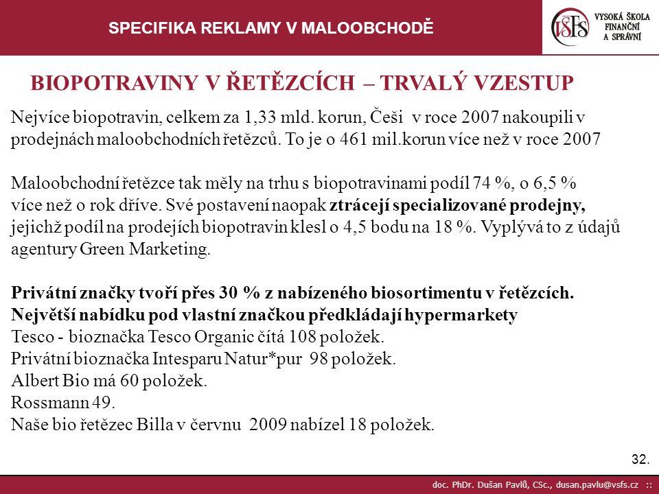 32. doc. PhDr. Dušan Pavlů, CSc., dusan.pavlu@vsfs.cz :: SPECIFIKA REKLAMY V MALOOBCHODĚ Nejvíce biopotravin, celkem za 1,33 mld. korun, Češi v roce 2