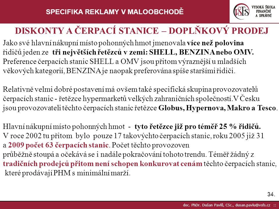 34. doc. PhDr. Dušan Pavlů, CSc., dusan.pavlu@vsfs.cz :: SPECIFIKA REKLAMY V MALOOBCHODĚ Jako své hlavní nákupní místo pohonných hmot jmenovala více n