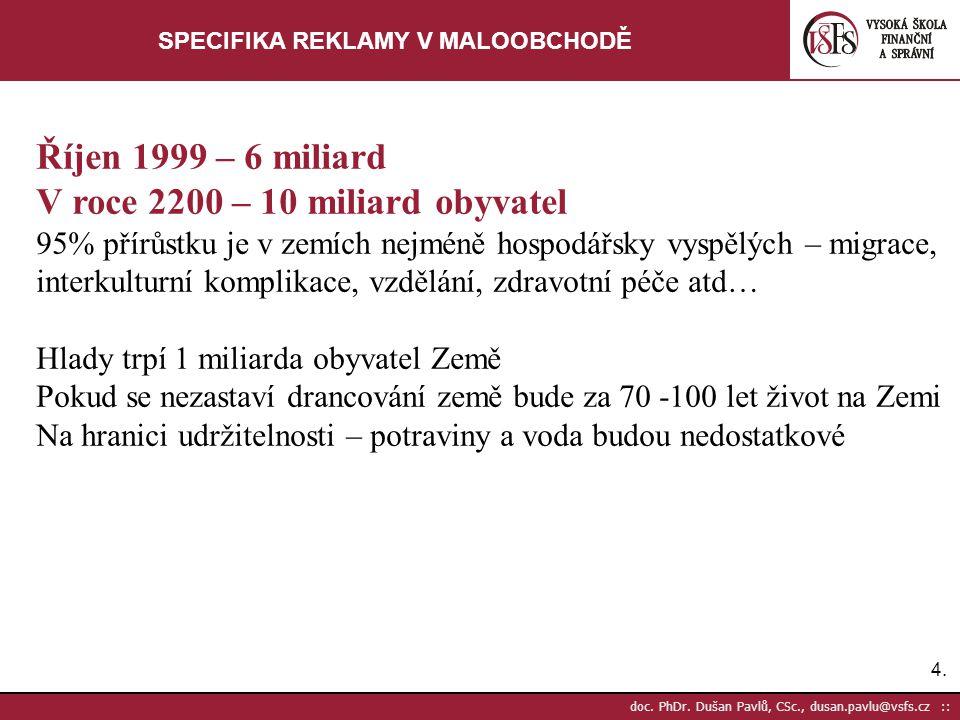 4.4. doc. PhDr. Dušan Pavlů, CSc., dusan.pavlu@vsfs.cz :: SPECIFIKA REKLAMY V MALOOBCHODĚ Říjen 1999 – 6 miliard V roce 2200 – 10 miliard obyvatel 95%