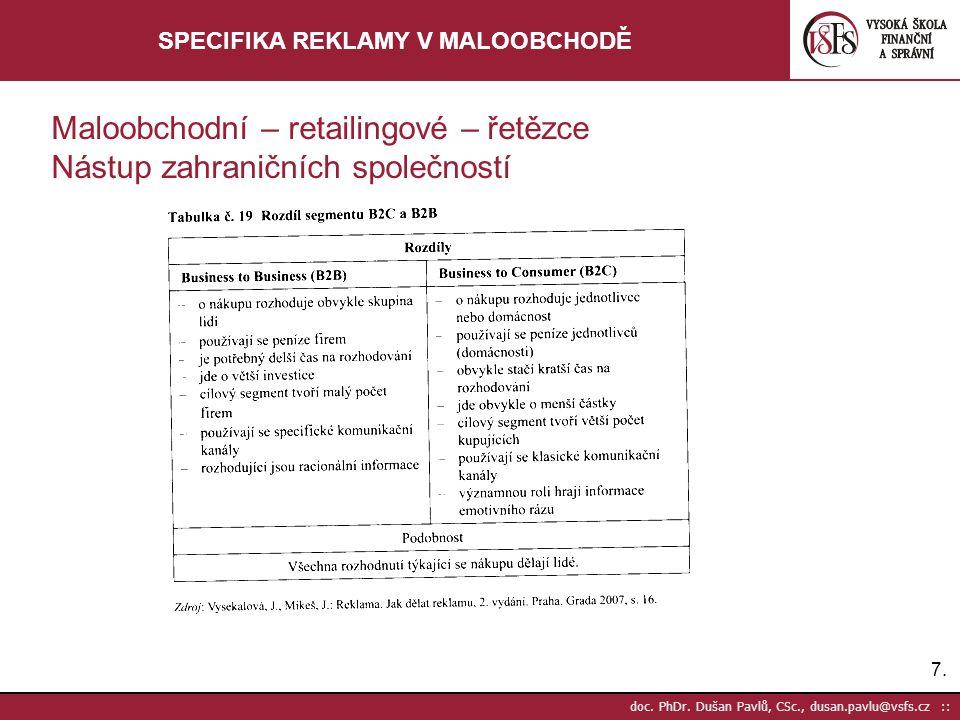 7.7. doc. PhDr. Dušan Pavlů, CSc., dusan.pavlu@vsfs.cz :: SPECIFIKA REKLAMY V MALOOBCHODĚ Maloobchodní – retailingové – řetězce Nástup zahraničních sp