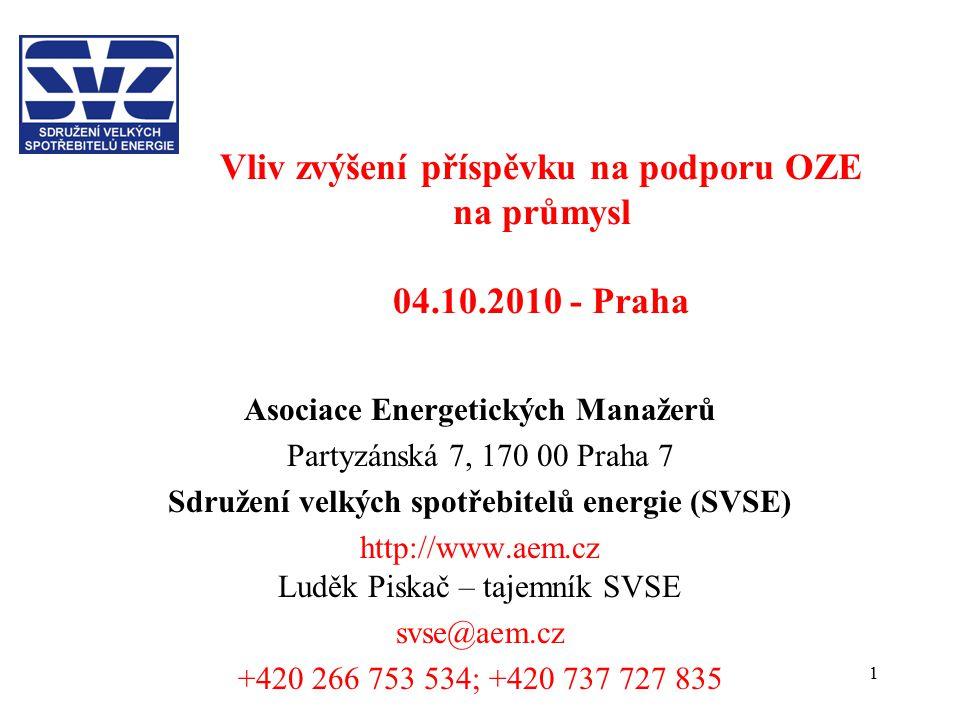 1 Vliv zvýšení příspěvku na podporu OZE na průmysl 04.10.2010 - Praha Asociace Energetických Manažerů Partyzánská 7, 170 00 Praha 7 Sdružení velkých spotřebitelů energie (SVSE) http://www.aem.cz Luděk Piskač – tajemník SVSE svse@aem.cz +420 266 753 534; +420 737 727 835