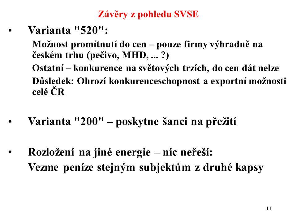 11 Závěry z pohledu SVSE Varianta 520 : Možnost promítnutí do cen – pouze firmy výhradně na českém trhu (pečivo, MHD,...