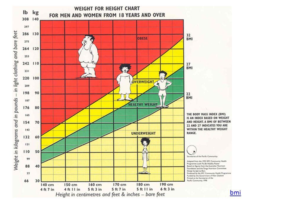 BMI BMI hodnoty: pod 18,5 = podvýživa 18,5 až 25 = normální váha nad 25 = nadváha nad 30 = obezita