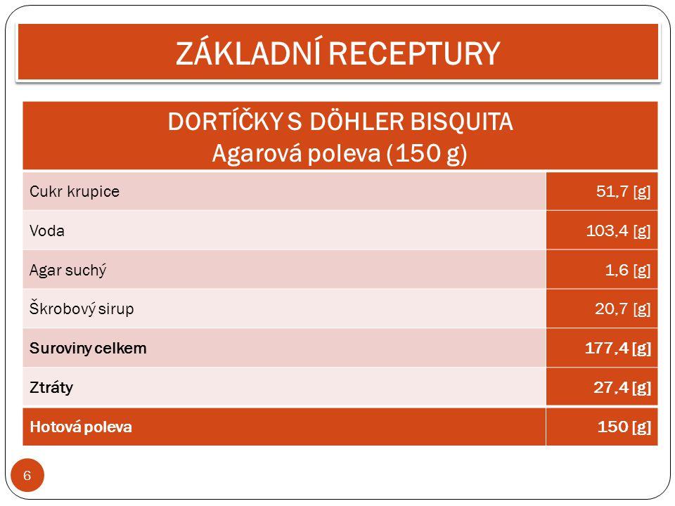 6 ZÁKLADNÍ RECEPTURY DORTÍČKY S DÖHLER BISQUITA Agarová poleva (150 g) Cukr krupice51,7 [g] Voda103,4 [g] Agar suchý1,6 [g] Škrobový sirup20,7 [g] Sur