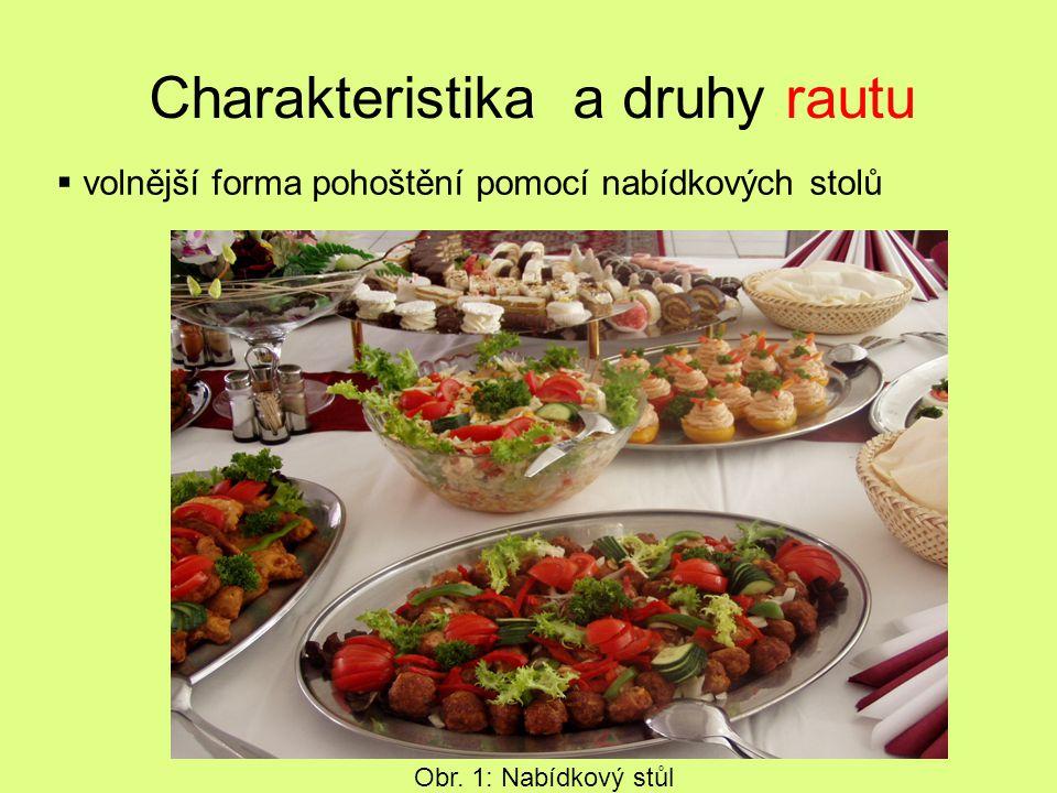 Charakteristika a druhy rautu  volnější forma pohoštění pomocí nabídkových stolů Obr. 1: Nabídkový stůl