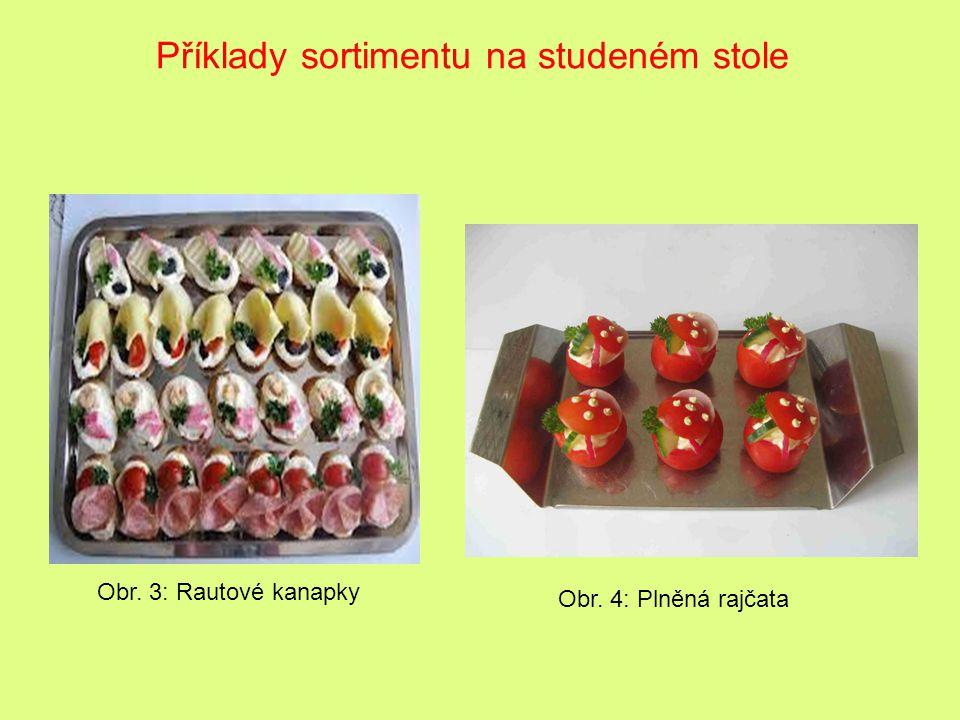 Obr. 3: Rautové kanapky Příklady sortimentu na studeném stole Obr. 4: Plněná rajčata