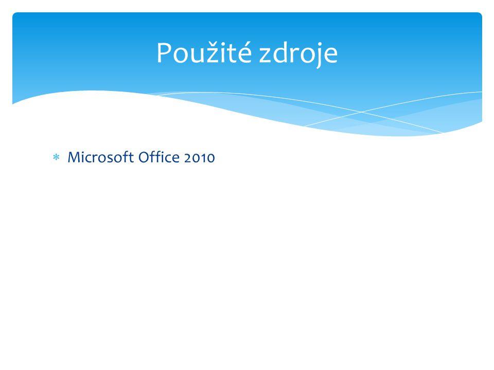  Microsoft Office 2010 Použité zdroje