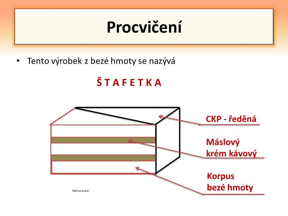 Procvičení Tento výrobek z bezé hmoty se nazývá CKP - ředěná Máslový krém kávový Korpus bezé hmoty Š T A F E T K A Nákres autor